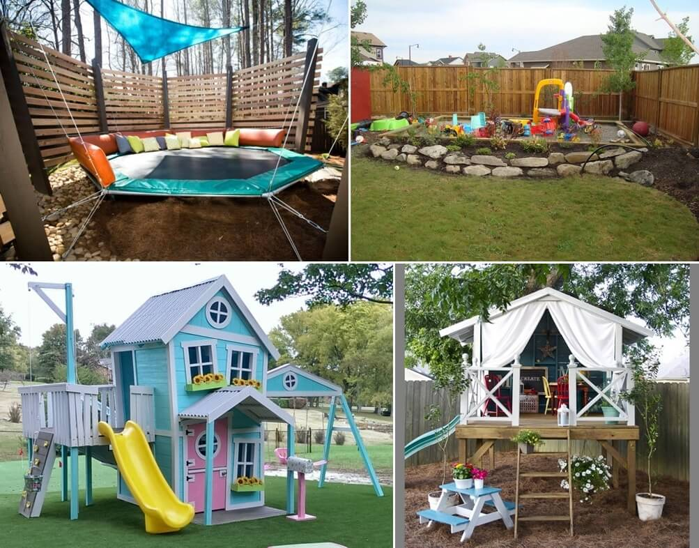 12 super cool ideas for a backyard kids 39 play area for Cool outdoor patio ideas