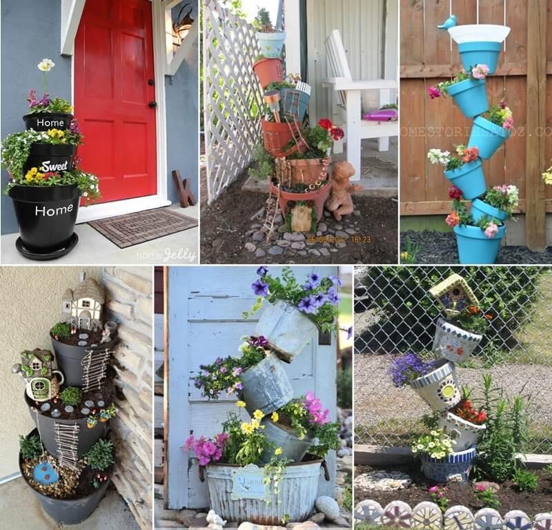 15 Amazing Spilling Flower Landscape Design Ideas: 15 Fabulous Flower Tower Ideas For Your Garden Or Porch