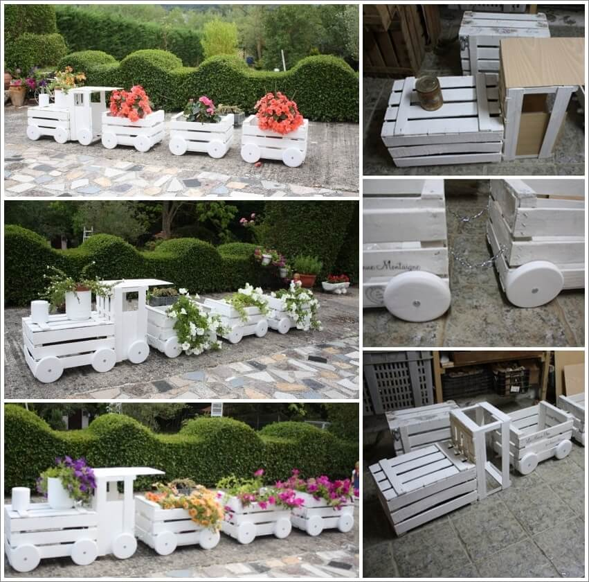 Make This Lovely Wooden Crate Train Planter for Your Garden 1