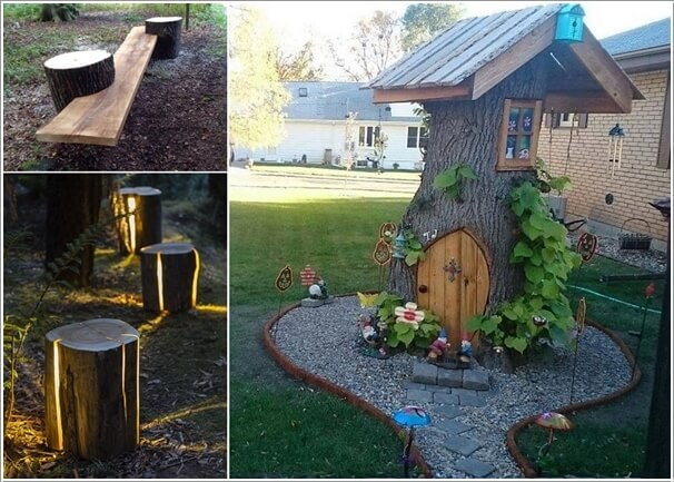 10 Absolutely Wonderful Tree Stump Landscaping Ideas a