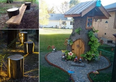 10 Absolutely Wonderful Tree Stump Landscaping Ideas fi