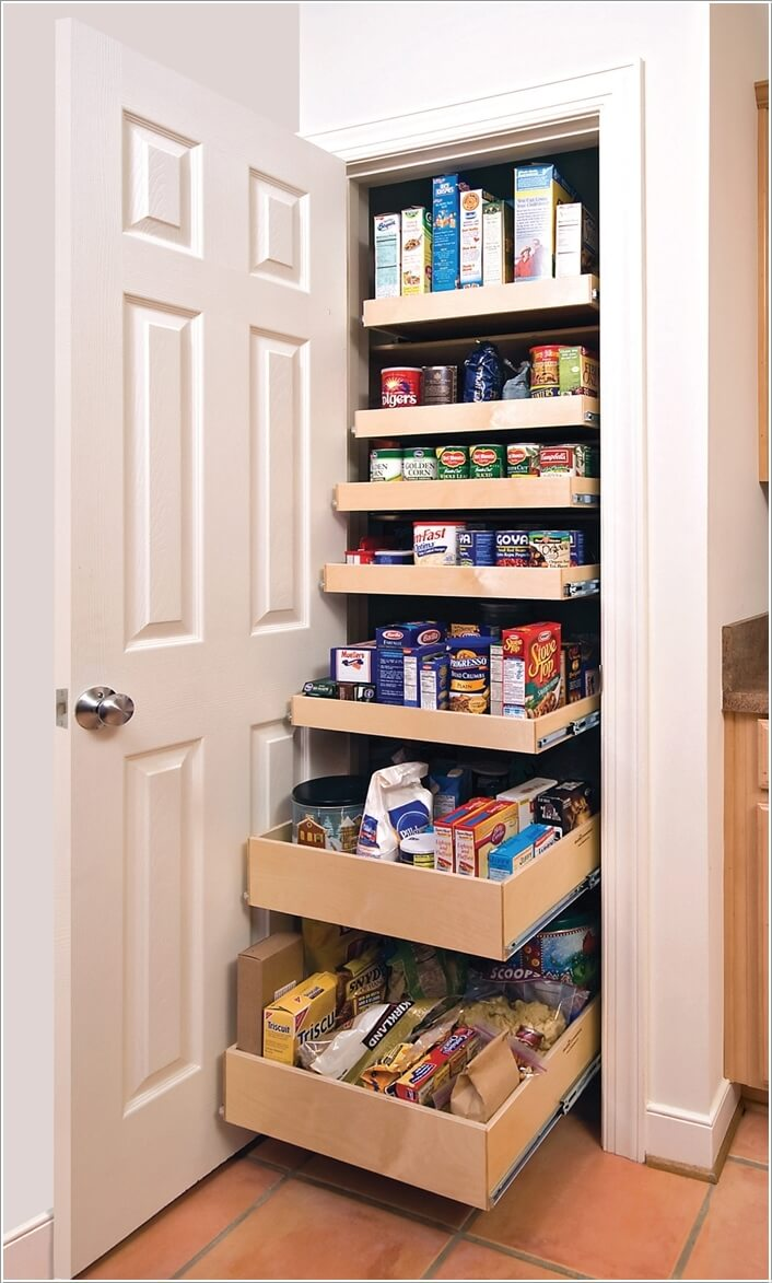 10 Clever Ideas To Store More In A Small Space Pantry: kitchen storage cabinets for small spaces