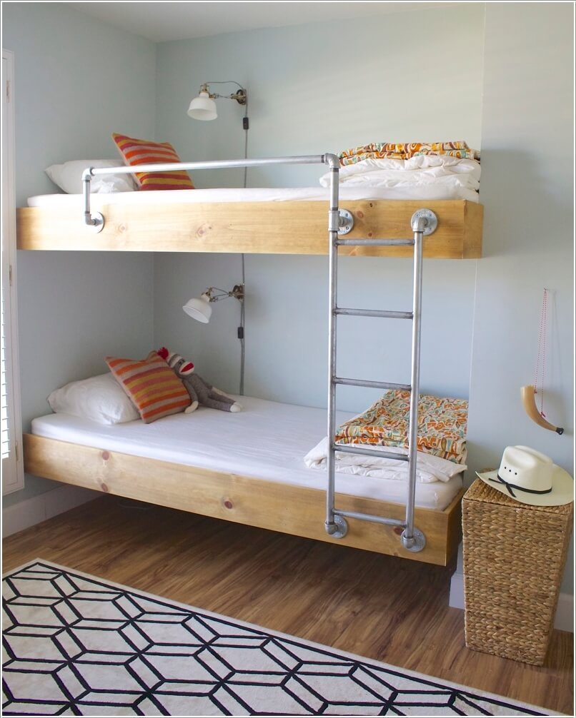 for an industrial look build a bunk bed with pipes and wood