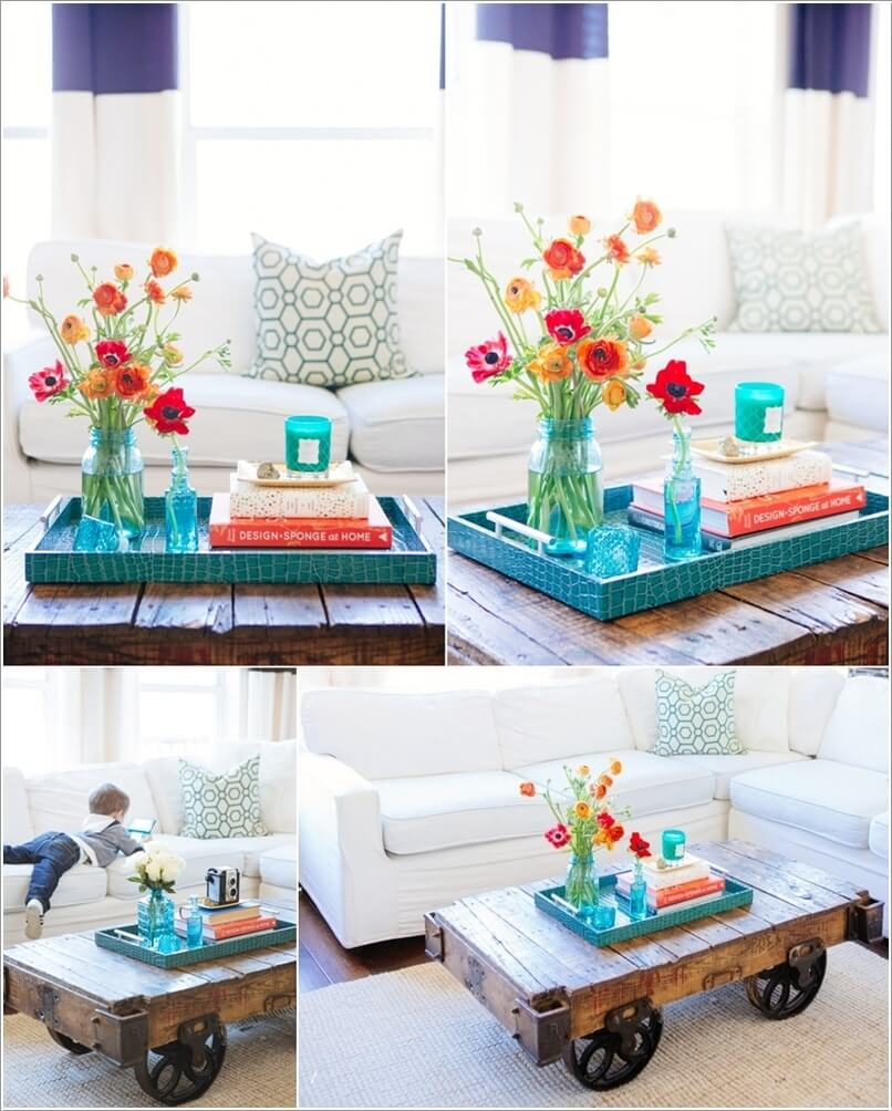 10 creative diy coffee table centerpiece ideas for Creative design table