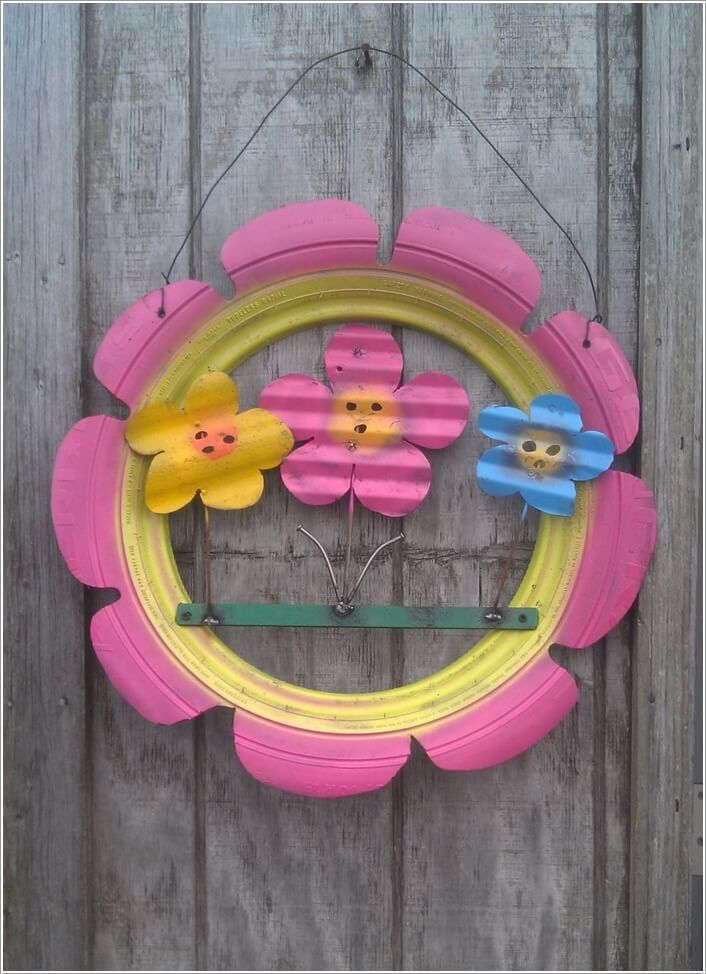 10 Colorful Garden Crafts to Make from Old Tires 2