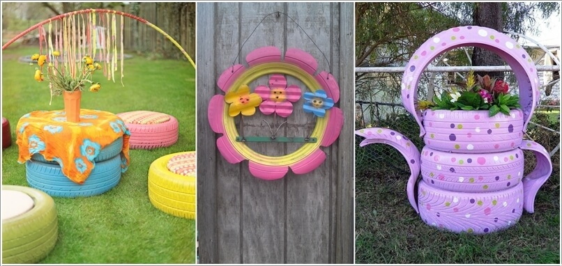 10 Colorful Garden Crafts to Make from Old Tires a