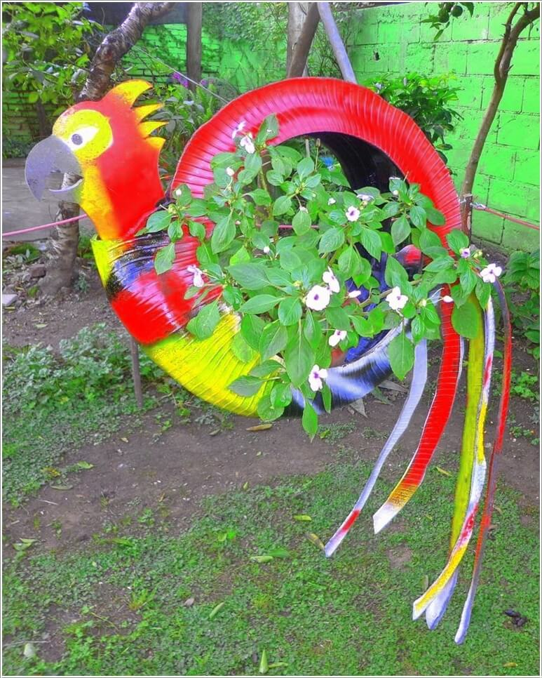 10 Colorful Garden Crafts To Make From Old Tires 3