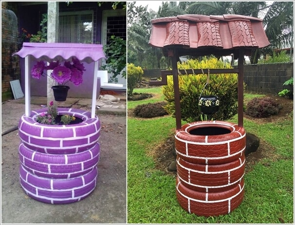 10 colorful garden crafts to make from old tires 6 - Garden Ideas Using Old Tires