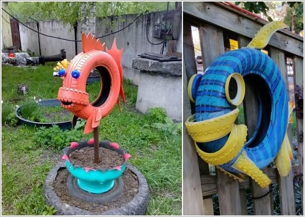 10 Colorful Garden Crafts To Make From Old Tires 7