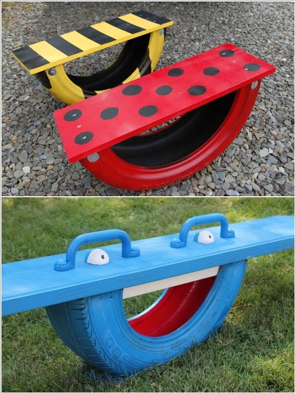 10 Colorful Garden Crafts to Make from Old Tires 8