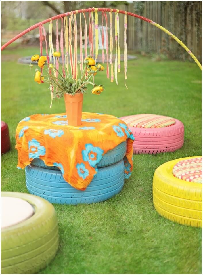 10 Colorful Garden Crafts to Make from Old Tires 10