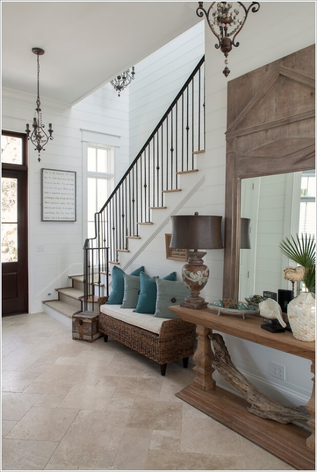 10 chic seating options for creating a welcoming entryway for Foyer seating area ideas