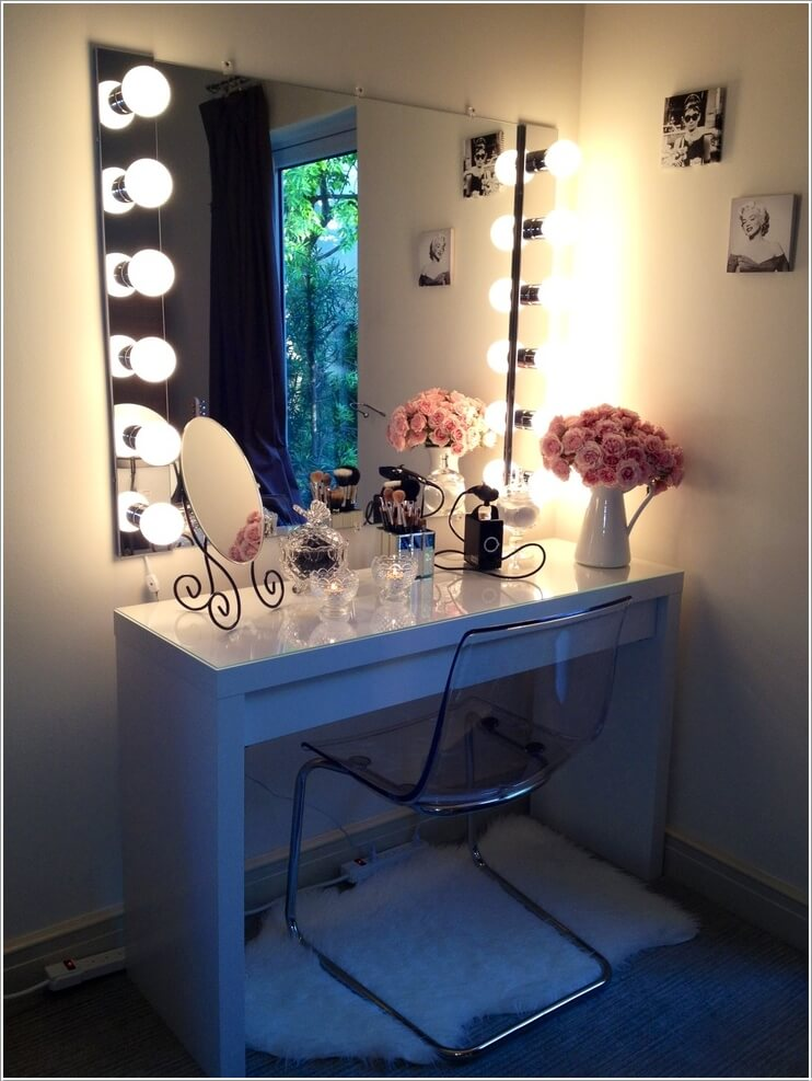 diy desks station vanity bathroom for with makeup pin mirror and lights