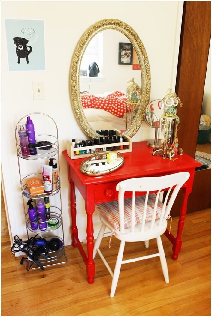 10 cool diy makeup vanity table ideas. Black Bedroom Furniture Sets. Home Design Ideas