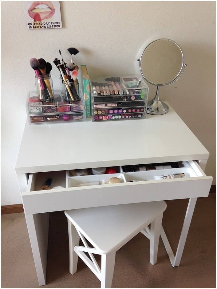 vanity drawers drawer makeup with table desks under dressing narrow ta crystal storage ravishing furniture corner mirrored console white mirror