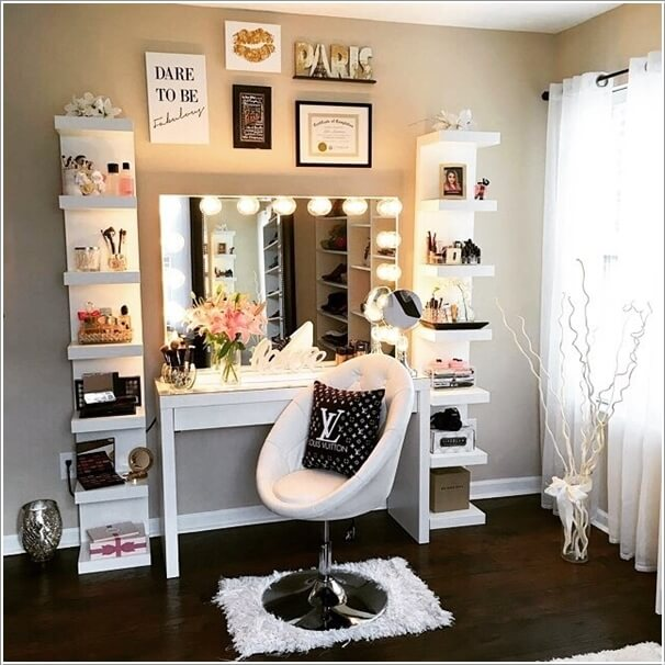 10 cool diy makeup vanity table ideas for Meuble coiffeuse maquilleuse ikea