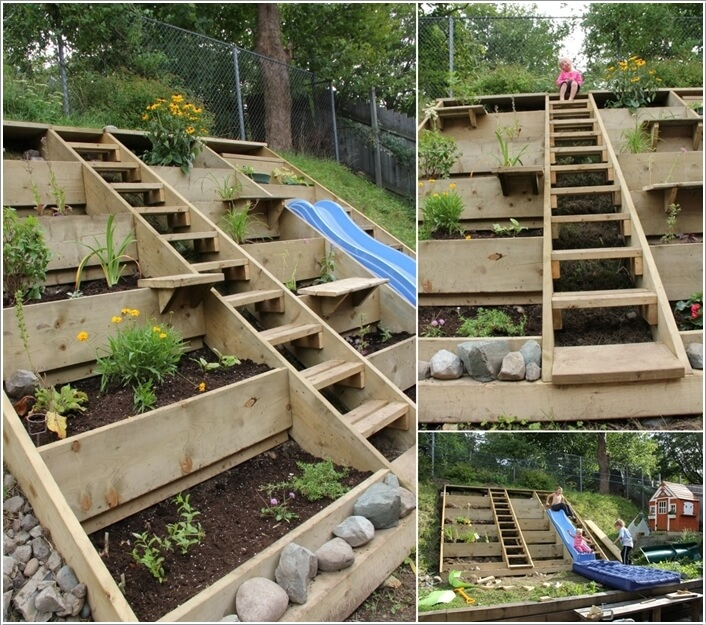 10 wonderful ideas to design a sloped yard for Garden design ideas sloping site