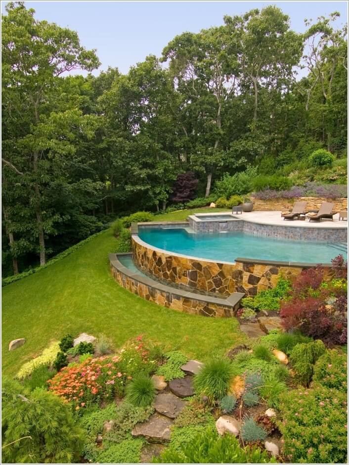 10 wonderful ideas to design a sloped yard for Pool design sloped yard