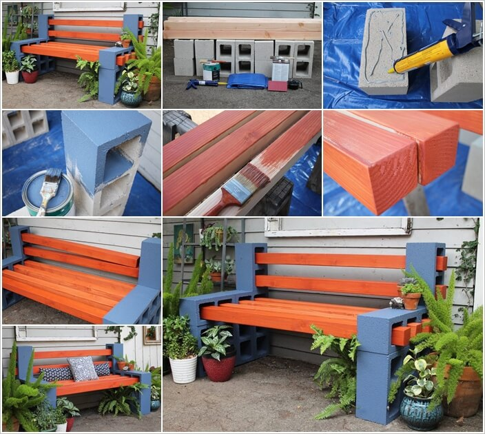 Make This Beauteous Outdoor Bench with Cinder Blocks 1