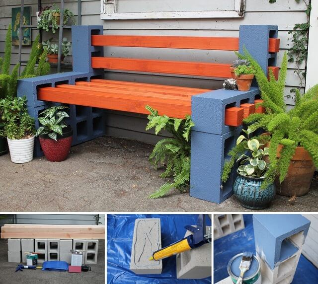 Make This Beauteous Outdoor Bench with Cinder Blocks