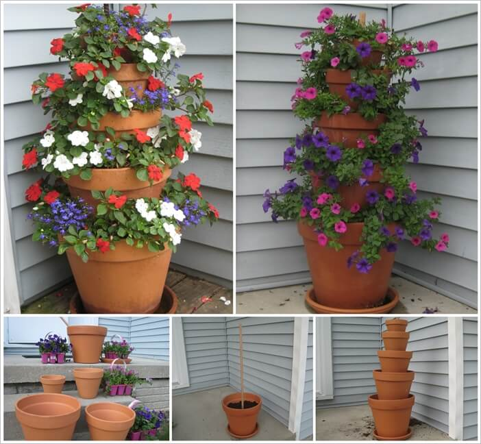 Amazing Interior Design & Make This Beautiful Flower Pot Tower for Your Porch