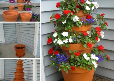 Make This Beautiful Flower Pot Tower for Your Porch fi