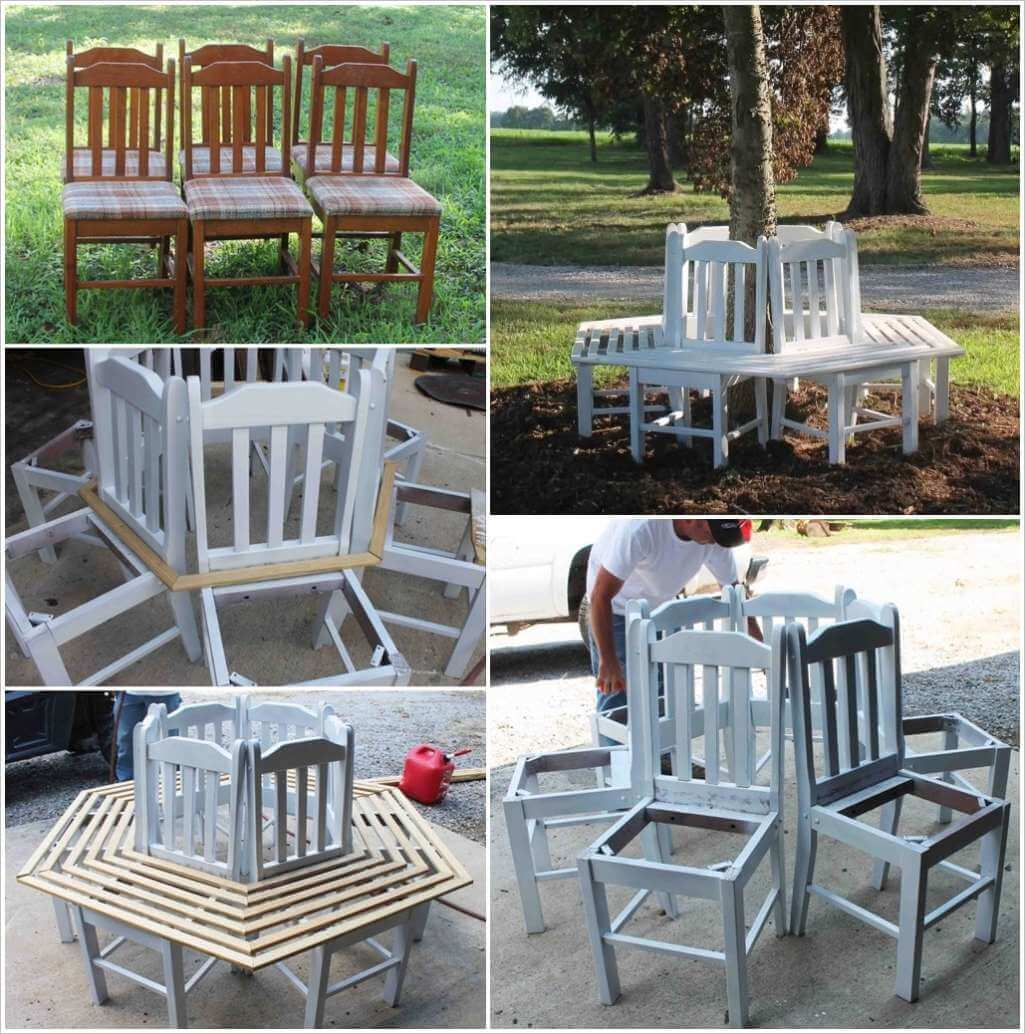 Old Kitchen Chairs Got a Second Life as a Tree Bench 1