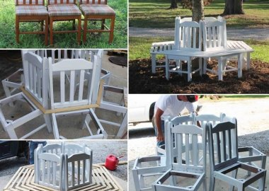 Old Kitchen Chairs Got a Second Life as a Tree Bench fi