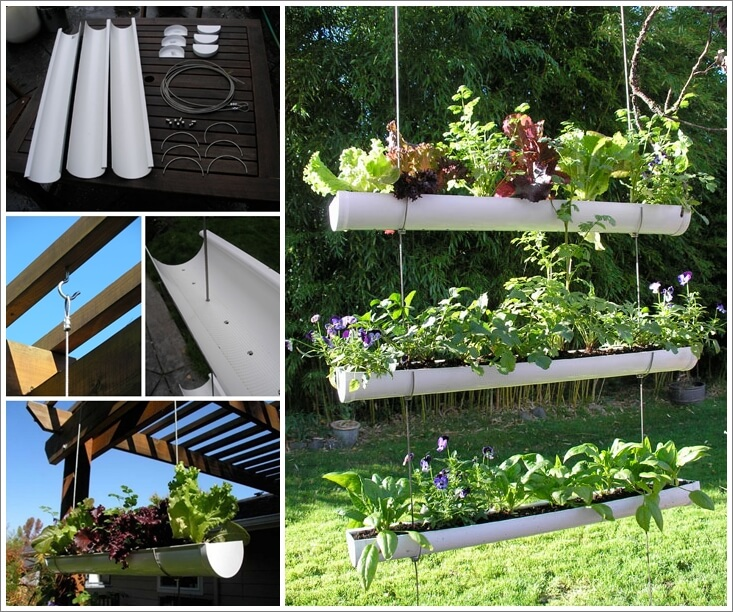 This Hanging Gutter Vertical Garden Is Simply Amazing