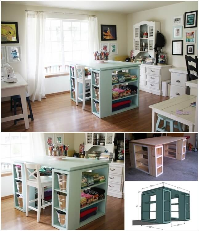 10 cool diy craft table ideas for your craft room for Building a craft room