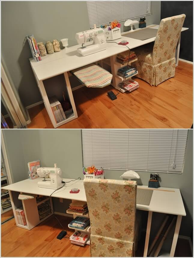 Craft room table plans image mag - Small craft space ideas plan ...
