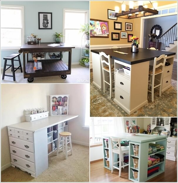 10 cool diy craft table ideas for your craft room for Small craft table with storage