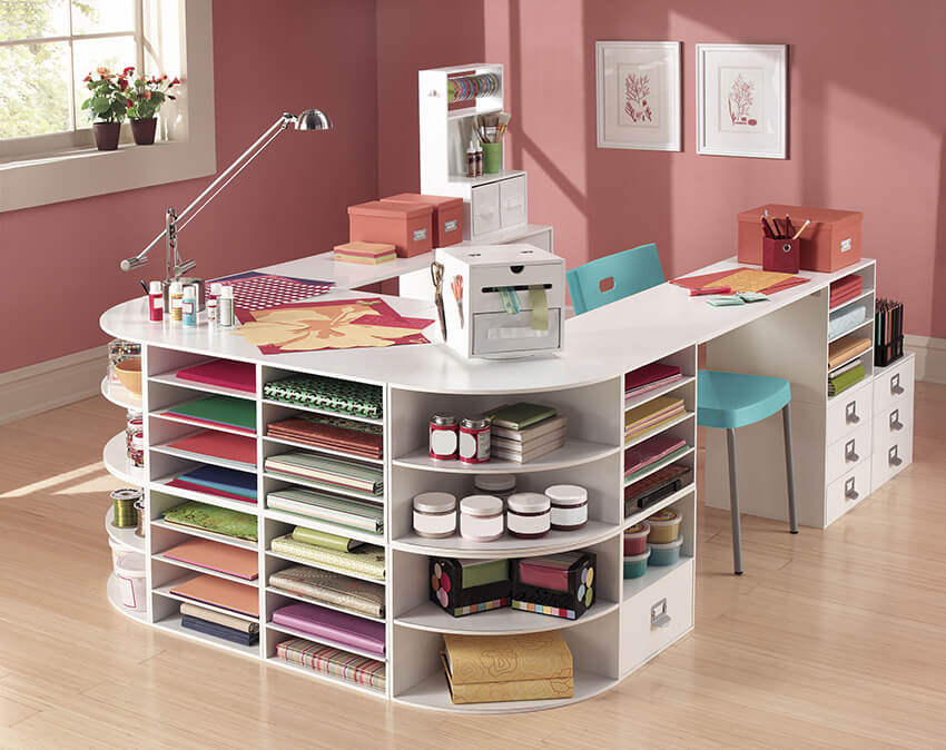 13 clever craft room organization ideas for diyers for Small craft table with storage