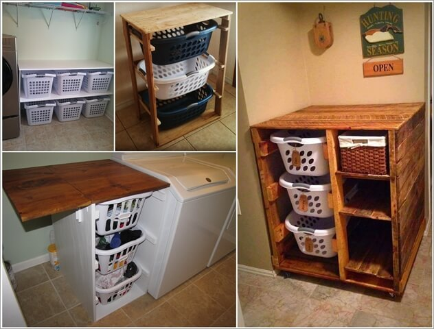 organize your laundry room with a basket dresser