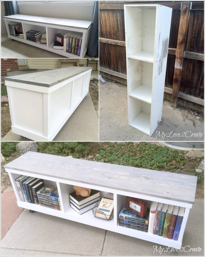Turn A Cabinet Tower Into Bookcase Bench