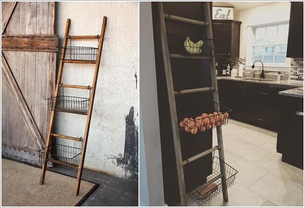 10. Add Baskets To An Old Ladder