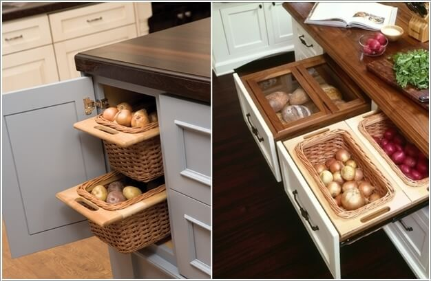 Create Storage Drawers Exclusively For Fresh Produce With Woven Baskets  Fixed In Wooden Frames
