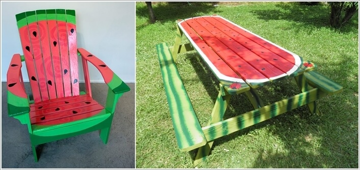 Grab Green And Red Paint Give Your Outdoor Furniture A Watermelon Makeover