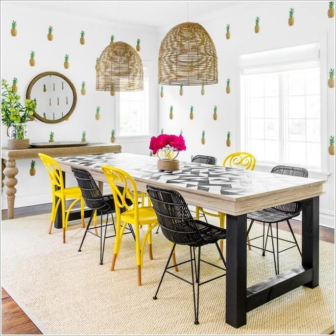 4 adorn your dining room walls with a pineapple wallpaper - Fun Home Decor Ideas