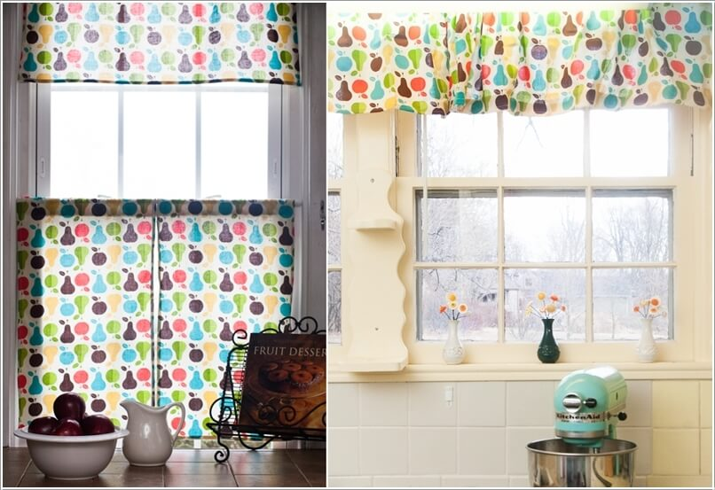 6 dress your kitchen window with a fruit print window treatment - Fun Home Decor Ideas