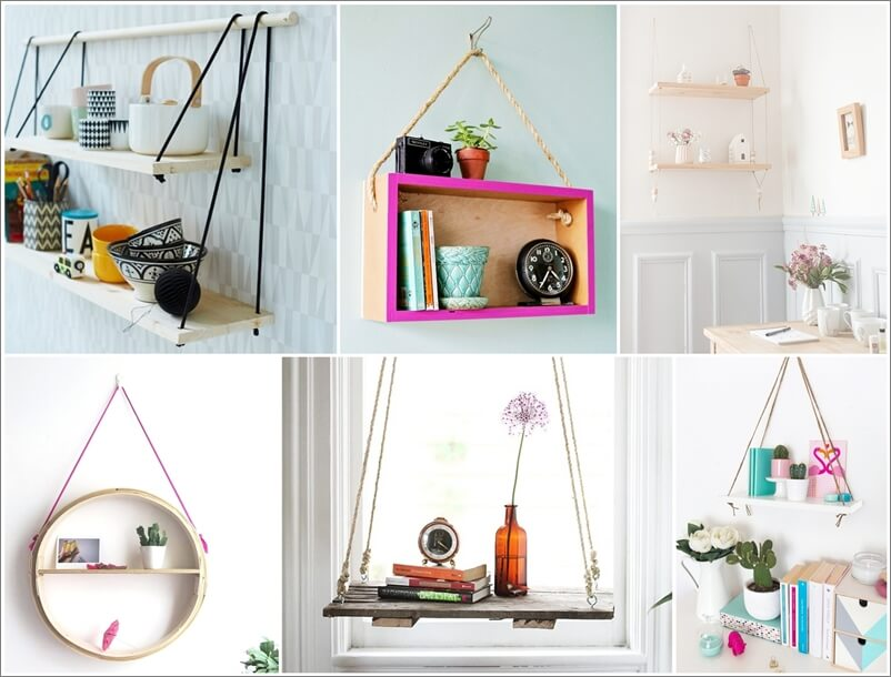 21 Space-Saving DIY Hanging Shelf and Table Ideas
