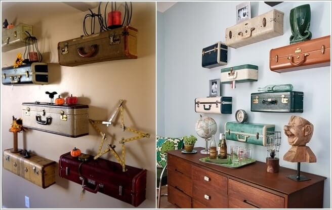 Recycle Vintage Suitcases As Shelves