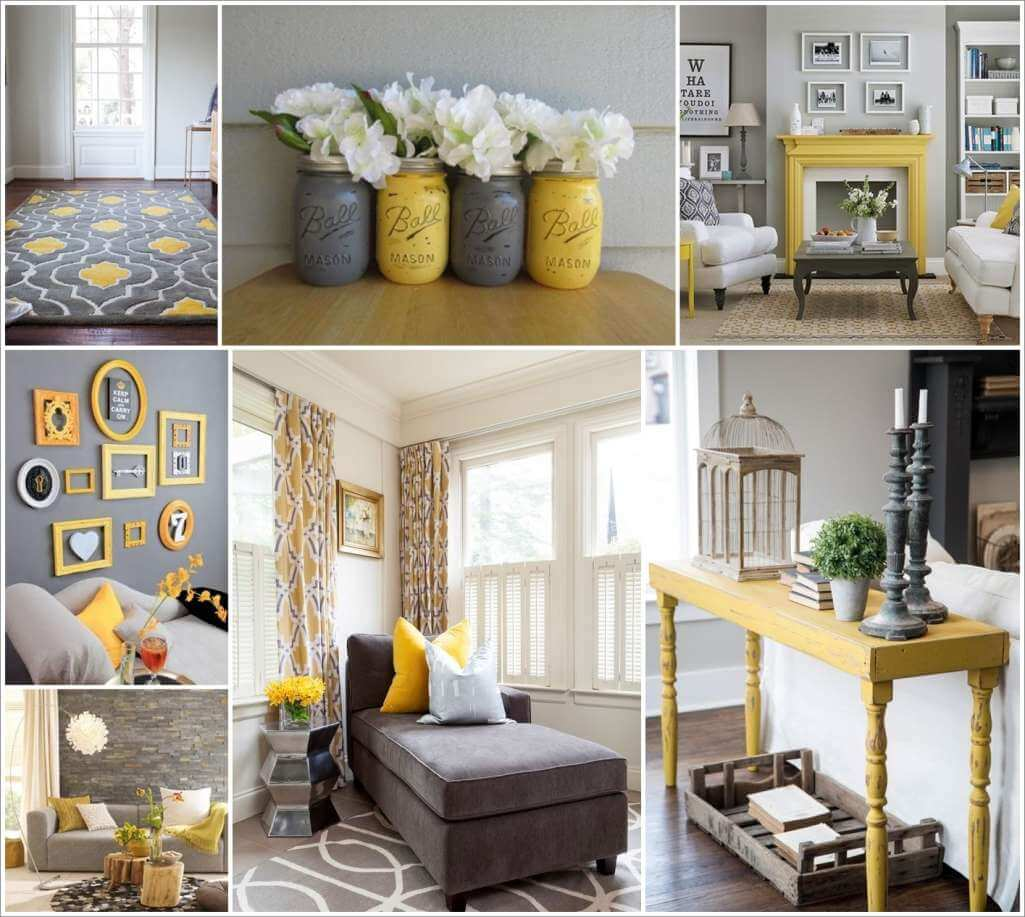 Style your living room in gorgeous gray and yellow for Decorate your living room ideas