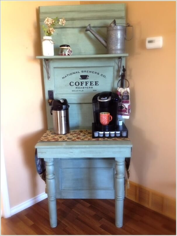 Re Purpose An Old Door Into A Coffee Station By Adding Shelves And Table To It