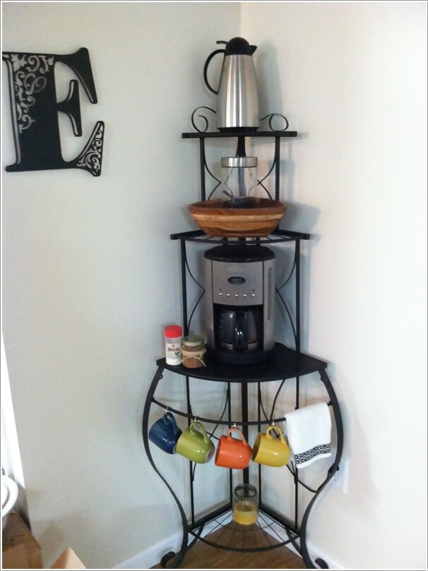 Re Imagine A Corner Baker S Rack Into Coffee Station