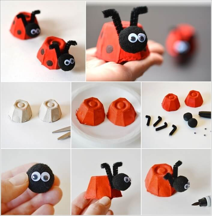 Rethink an Egg Carton Some Pom Poms and Pipe Cleaners into Lady Bugs; Detail with a Marker and Googly Eyes & 10 DIY Bug Crafts You Would Love to Try