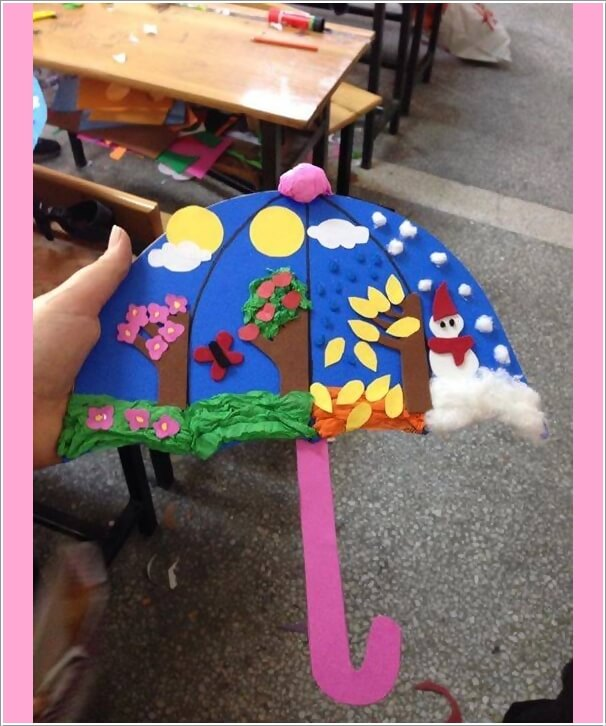 Umbrella Craft Ideas For Kids Part - 35: Cut An Umbrella In Blue Color, Divide It In Four Segments And Decorate Each  With A Different Season
