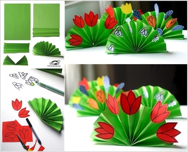 10 easy paper crafts to try with kids let your kids fold a paper fan in green color and then glue flowers to make spring bouquets mightylinksfo