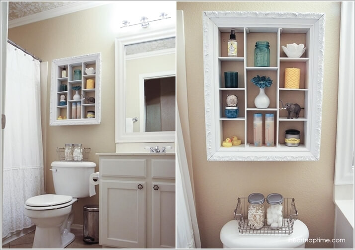 add shelves to an old picture frame - Bathroom Shelving