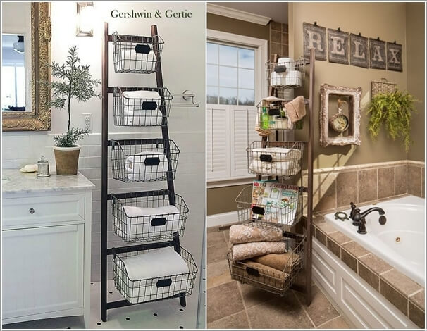 Attractive Create A Shelving Unit With An Old Ladder And Wire Baskets Part 27